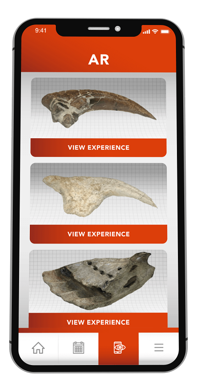 Burpee Museum App Augmented Reality experience list