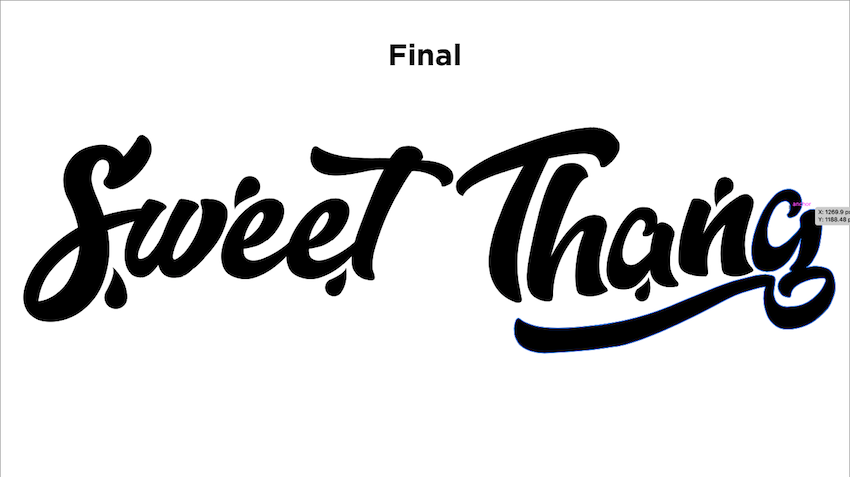 final typeface for Sweet Thang video
