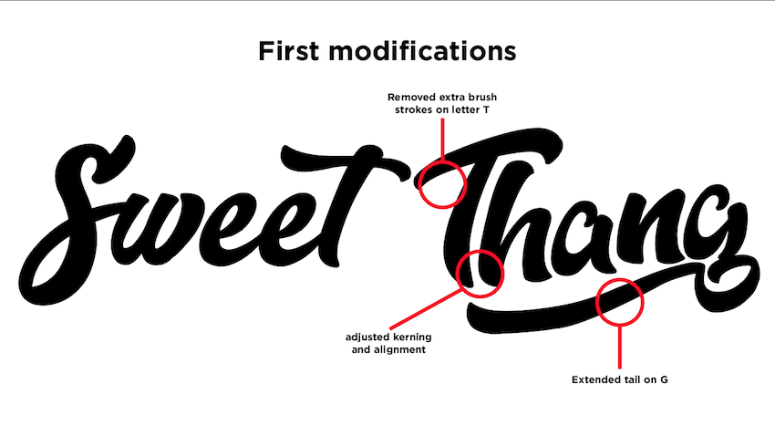 first modifications to typeface for Sweet Thang video